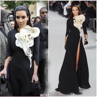 Wholesale Kim Kardashian Summer Cocktail Dresses - Paris Fashion Week Red Carpet Ruffles flower front black white tigh high split 3 4 long sleeves Kim Kardashian Celebrity Dress