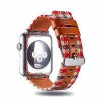 pulseras de tela de cuero al por mayor-Banda de cuero de tela a cuadros para 38/40 mm 42/44 mm Correa de reloj Apple Correa iwatch Serie de pulsera 3 3 2 1 I343.