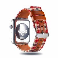 ingrosso braccialetti di cuoio in tessuto-Cinturino in pelle tessuto scozzese per 38 / 40mm 42 / 44mm Cinturino orologio Apple cinturino in pelle iwatch Series 4 3 2 1 I343.