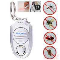 Wholesale Clip Electronic - Mini Electronic Ultrasonic Mosquito Pest Repeller Keychain Flashlights Mini Key Clip Button Ultrasonic Electronic Mosquito Repellent BBA312