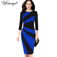 2bb5dab353a Vfemage Womens Eleganter Kontrast Patchwork 3 4 Ärmel Colorblock Wear zur  Arbeit Offizielle Business Party Bodycon Bleistift Kleid 8081 D18111206