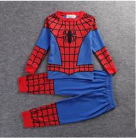 erkek gündelik gömlek giymek toptan satış-Çocuk Giyim Seti T-Shirt + Pantolon Iki parçalı Set Superhero Cosplay Giyim Setleri çocuğun Rahat Ev Giyim Pijama 6 Stilleri