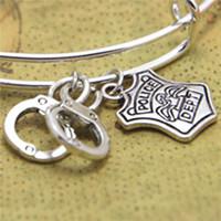 Wholesale wife charm bracelet - 12pcs lot Handcuffs bracelet Charm bangles adjustable Jewelry Badge Handcuffs Wife