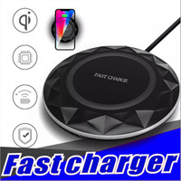 Wholesale Diamond Wireless Usb - Fast Charger Qi Wireless Charger Ultrathin Diamonds Charging pad With LED Light USB Cable For Iphone 8 X Samsung S6 S7 S8 Note8