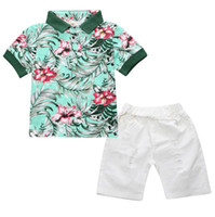 Wholesale baby clothing polo - 2pcs Toddler Kids Baby Boy Fashion Sets Flower Polo Shirt + White Short Pants Outfits Cotton Summer Clothing Set