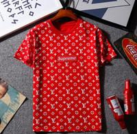 Wholesale usa tees - USA Box Logo Hip Hop i feel like Pullover Men Women T-Shirts Patchwork Top Tees Fashion Skateboard Harajuku Streetwear Size X-XXL