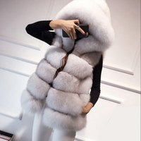 Wholesale Fake Mink Coats - New Warm Faux Fox Fur Hooded Coat Women Winter Luxury Fake Fur Vest Coats Female Sleeveless Jacket Overcoat Mink Coat S-3XL