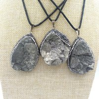 Wholesale Necklace Pendant Loose Beads - JLN Natural Pyrite Fluorite Pendant Free Size Rhinestone Crystal Edged Stone With 24 Inches Wax Rope Chain Necklace Gift For Man Woman