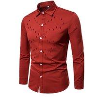 lässige, schmal geschnittene, stilvolle kleidung großhandel-2018 neuesten Stil Herren Luxus stilvolle Business Casual Dress Anzüge Slim Fit Shirts Langarm Solid Tops