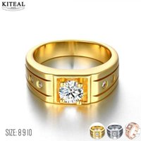 Wholesale gold jewellery ring man for sale - Kiteal Gold sier Color Wedding Male Rings for Men Jewelry Crystal Ring Aneis Anillos J473 Man Jewellery Sale christmas Gifts