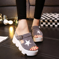 Wholesale roman wedge sandals fashion - ANGUSH New Brand Summer Women Sandals Thick Bottom Platform Shoes Buckle Roman Sandals Female Fashion Fish Mouth Four Colors Wedge Sandals