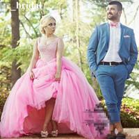 ingrosso abito rosa palla-2018 Abiti da ballo rosa Abiti Quinceanera senza spalline Prom Gown Perline Cristalli Lace Up Torna abiti da 15 anni Sweet 16 Dresse