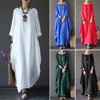 Wholesale dress summer night - 2018 New Womens Ladies Casual Long Sleeve Loose Baggy Cotton Linen Long Maxi Dress Kaftan Plus Size