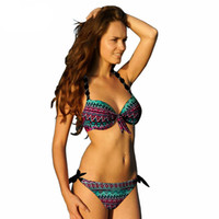 bikini plus groihandel-Sexy Bikinis Frauen Print Floral Badeanzüge Brasilianische Push Up Halter Bikini Set Badeanzüge Plus Size Bademode Weibliche Xxl