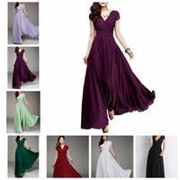 Wholesale clothing woman club online - Fashion Women slinky dress Short Sleeve Vintage solid Party Club Bohemia V neck Sexy Maxi Dress Casual Dresses home clothing GGA978