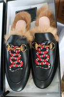 kürk zincirleri toptan satış-Yeni Kadın Ayakkabı Kürk Katır Metal Zincir terlik Lüks Tasarımcı Moda Hakiki Deri Loafer'lar ayakkabı ile toz torbaları kutuları
