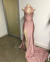 Wholesale Off White Lace - 2017 Sexy elegant black girl african mermaid prom dresses evening gowns gold lace appliques prom dress mermaid