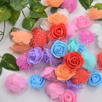 свадебные ремесла оптовых-50pcs Lace Mini Foam Rose Handmade PE Artificial Flowers For Wedding Home Decoration DIY Marriage Flores Rosa Crafts Accessories