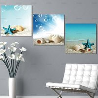 Wholesale beautiful sea painting resale online - Picture Canvas Painting Starfish shell Wall Art Wall picture sea Canvas Prints beautiful art Pictures home decoration