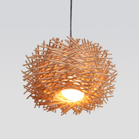 Wholesale shop bird resale online - Modern Wood Bird Nest Pendant Lamp Cane Woven Pendant Light Personality Dining Room Bar Coffee Shop Bookstore Decoration Lamp