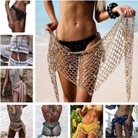 Wholesale red sarong wrap - Crochet Mesh Bikini Triangle Shawl Cover Up With Shell Beach Sarong Wrap Skirt Scarf