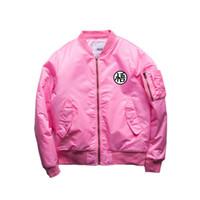 Wholesale varsity letter jackets - 2018 Winter Men Flying Bomber Jacket Outwear Flight Coat Men Varsity College Dargon Ball Z Hanzi Printed Outerwear Coat