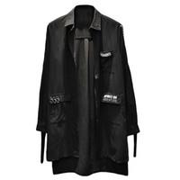 ingrosso punk rock coreano-Camicia lunga allentata nera Uomo Hip Hop Punk Rock Uomo abbottonato Camicie Casual giapponese Streetwear Abbigliamento coreano moda 6c017