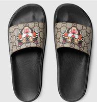 Wholesale men sandals for sale - Designer sandals luxury Cat Tiger bee print Soft leather rubber men women sandals slipper size with box