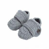 tığ işi bebek ayakkabıları çoraplar toptan satış-Bebek Ayakkabıları Katı Beşik Tığ Rahat Bebek El Yapımı Örgü Çorap Bebek Ayakkabı Gri Shoes Enfant