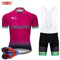 ropa de ciclismo astana al por mayor-2018 Pro Team ASTANA Ciclismo Jersey Set MTB Ropa de bicicleta Ropa de bicicleta Ropa Ciclismo Hombre Short Maillot Culotte