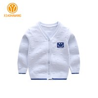 Wholesale Newborn Cardigans - Solid Baby Sweater Long Sleeve Baby Boys Sweaters Knitted Cotton Newborn Coat Smile Girls Cardigan Sweaters 2017 Clothing