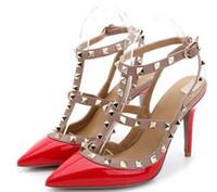 Mujeres remache tacones altos zapatos de vestir de tacón cerrado Sandalias  de punta estrecha bombas de punta Sexy Slingbacks fiesta de baile de la  boda ... 9ca84af32a5b