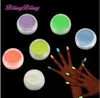Wholesale glowing powder nails for sale - BlingBling Color Nail Glitter Glow in the Dark Pigment Nail Dust Fluorescent Effect Luminous Powder Glitter Phosphor Art