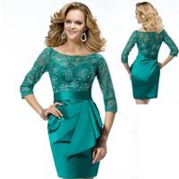 ingrosso abiti da sera verde smeraldo corto-Emerald Green madre della sposa abiti in pizzo mezza manica in rilievo breve Plus Size abito da sposa abito da sera per le donne