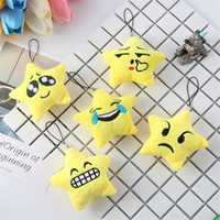Wholesale Point Tv - Plush Toy Cartoon Expression Emoji Kid Children Yellow Five Pointed Stars Pendant Cute Key Bag Accessoriess Gift 1 2my V