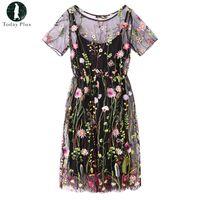 2017 Mini abito da donna elegante mini abito corto a maniche corte in tulle  con ricamo floreale 3c7769bc8dba