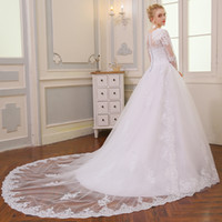 Wholesale Garden Wedding Dresses Sleeves - 2018 New Dubai Elegant Long Sleeves A-line Wedding Dresses Sheer Crew Neck Lace Appliques Beaded Vestios De Novia Bridal Gowns with Buttons