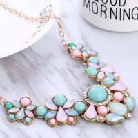 заявление ожерелья розовое золото оптовых-whole saleBlue Pink Color Rhinestone Necklaces Pendants Boho Statement Necklace Gold Color Vintage Pendant Lady Dress Choker Necklace