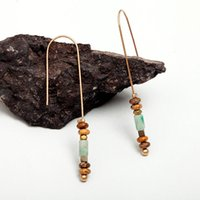 Wholesale Color Stone Earrings - Mixed Color Natural Stone Retro Long Earrings Earrings Ladies High-end Earrings Female Fashion Personality Jewelry Accessories