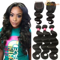 Wholesale brazilian wavy hair 16 inches resale online - Brazilian Body Wave With x4 Lace Closure Unprocessed Brazilian Virgin Hair Bundles With Closure Wet And Wavy Brazilian Virgin Human Hair