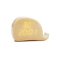 ingrosso sveglia digitale gialla-Wake Up Light Digital Night Light LED comodino Scrivania sveglia con disegno di balena (giallo)