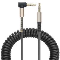 iphones achat en gros de-3.5mm Câble auxiliaire audio Cordon plat 90 degrés Droite Câble AUX avec soulagement de ressort en acier pour casque iPods iPhones Ordinateur portable Maison Stéréo
