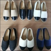 Wholesale Pearls Flat Shoes - Designer Women Leather Canvas Espadrilles Top Quality Real Lambskin Women Flat Shoes Pearl Espadrilles Size EUR35-42 Come with Box