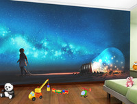 Wholesale nursery wallpaper boy - Stereo Starry Sky Boy With the Ideal Light Bulb Mural Customized 3D Wallpaper Living Room Sofa TV Background Wall Paintings Kid's Bedroom