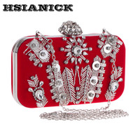 Wholesale handmade flannel - Female Limited Bohemian Diamonds Bag 2017 New Handmade Nail Bead Evening Flannel Dinner Handbag Diamond Wedding Bride Clutch