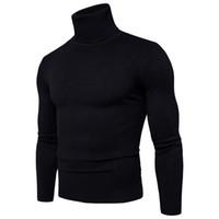 ingrosso maglione degli uomini di qualità-Maglione Pullover Uomo 2018 Marca maschile Casual Slim maglioni Uomo Maglione di alta qualità di colore solido con collo alto e collo alto