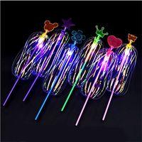 juguetes varita mágica que brilla intensamente al por mayor-Coloridos juguetes luminiscentes niños de gran tamaño Variedad Torcedura Cinta mágica varita Destello de luz Flor de burbuja Glow Stick 1 55jl W