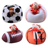 Wholesale football soft toys resale online - Basketball Baseball Football style Toy Storage Bean Bag Soft Pouch Fabric Kid Stuffed Animal Plush closet organizer toy storage