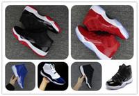 indirimli kadın basketbol ayakkabıları toptan satış-İndirim Marka Erkek Orijinal Kutusu Ile 11 bred Concord Basketbol Ayakkabıları Womens Atletizm Sneakers 11 s Spor kırmızı Chicago Spor Ayakkabı Eğitmenler