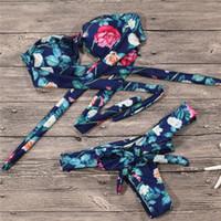 biquini quente sexy americano venda por atacado-2 pc / set Hot Estilo Doce Conjunto Biquíni Brasileiro 2018 Europeu Americano Sexy Floral Swimwear Swimsuit Mulheres Biquíni De Cintura Baixa